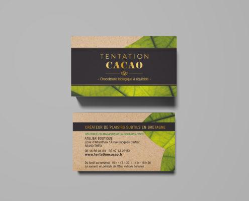 Cartes de visite chocolatier artsianal et biologique