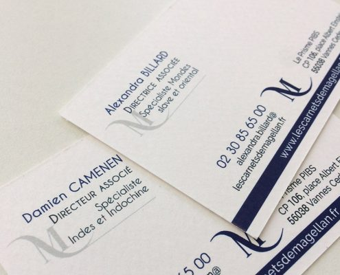 Cartes de visite, verso, papier texturé