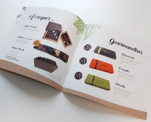 Conception graphique du catalogue de la chocolaterie