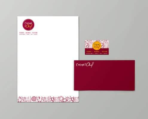création des supports papier, entête, carte de visite