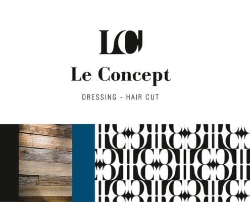 Accords couleurs et matériaux pour le logo Le concept