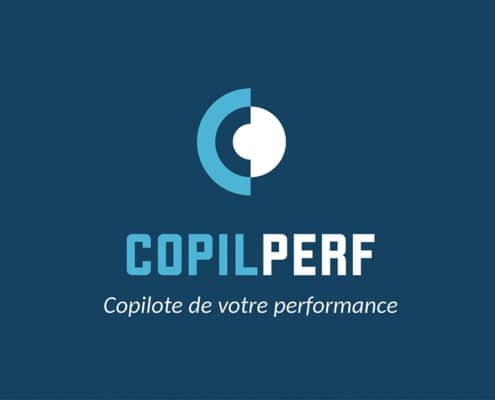 Logo copilperf sur fond bleu